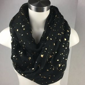 Black Gold Infinity Scarf Boho Hipster Sheek